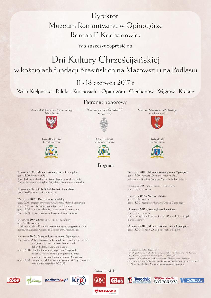 Dni Kultury Chrześcijańskiej  wkościołach fundacji Krasińskich naMazowszu inaPodlasiu