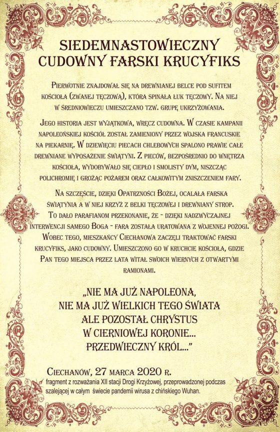 Fara Ciechanów, Cudowny farski krucyfiks - historia