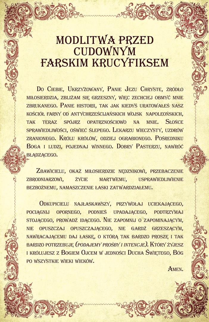Fara Ciechanów, Cudowny farski krucyfiks - modlitwa