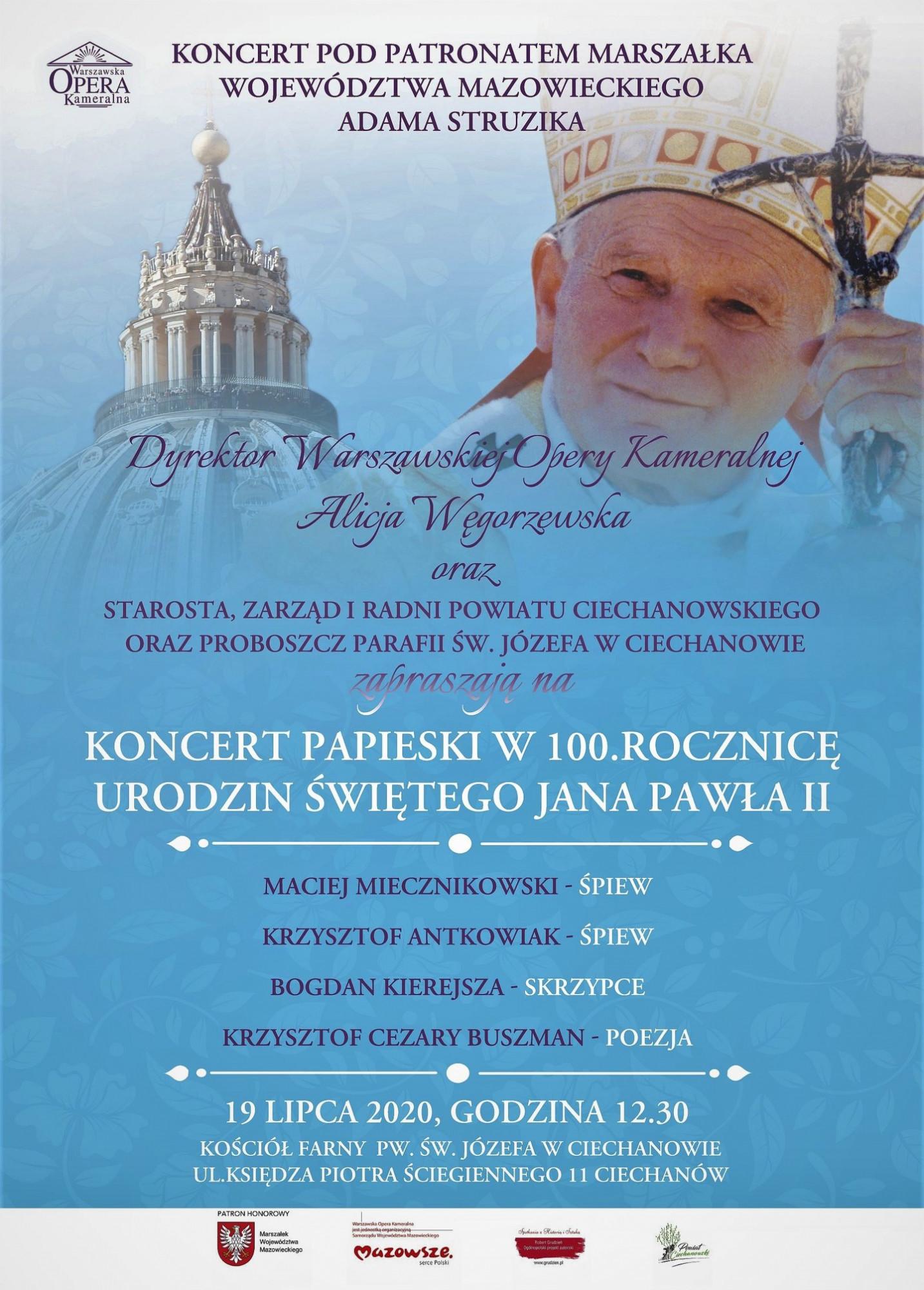 Koncert Papieski w 100 rocznicę urodzin Św. Jana Pawła II