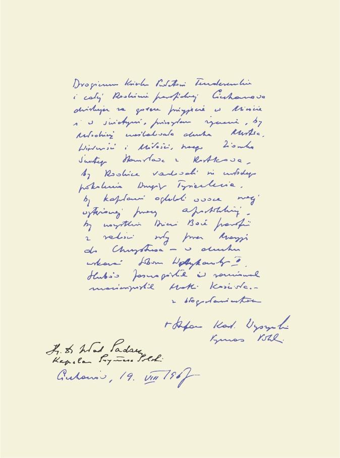 Fara Ciechanów, Prymas Polski wparafii farnej wCiechanowie, 19 sierpnia1967 r. Wpis pozostawiony wkronice parafialnej.