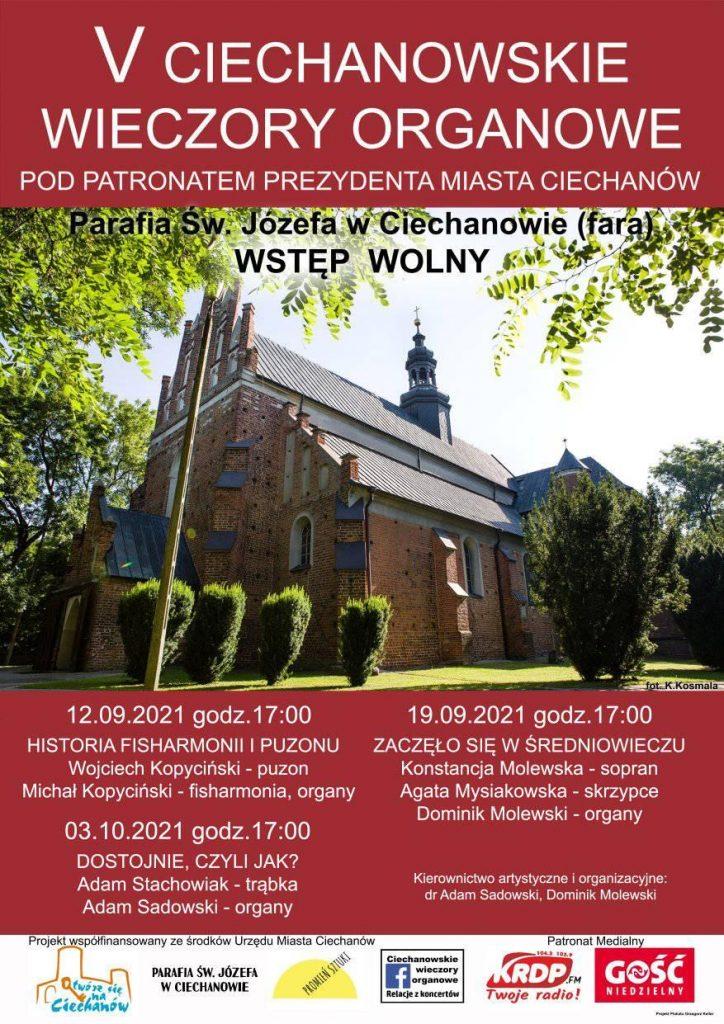 Zapraszamy naV Ciechanowskie Wieczory Organowe. Koncerty odbędą się 12 i19 września 2021 r. wkościele farnym (Parafia św.Józefa) ogodz.17.00.